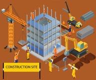 Semi-costruzione di una costruzione del concetto isometrico del materiale illustrativo illustrazione di stock