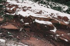 Semi-covered stones by snow Royalty Free Stock Images