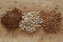 Semi del grano saraceno, del lino e di girasole Fotografie Stock