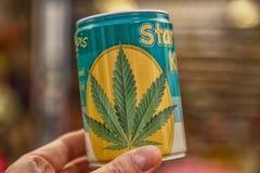 Semi della cannabis in barattolo Immagini Stock
