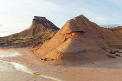 Semi-desert Bardenas Reales, eroded mountains, Natural Park and Royalty Free Stock Photography