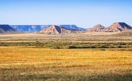 Semi-desert landscape of bardenas reales natural park Royalty Free Stock Photos