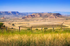 Semi-desert landscape. Of bardenas reales natural park.  Spain Royalty Free Stock Images