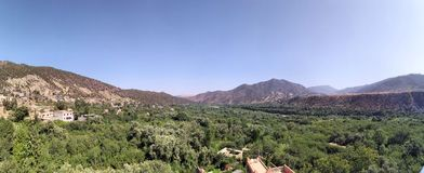 Semi desert landscape. In Morocco countryside Stock Photos