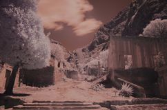 Semi desertic landscape in infrared Royalty Free Stock Images