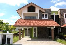 Semi Detached House. In an urban area in Malaysia (front view Stock Photography
