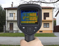 Semi Detached Houses Infrared Camera Stock Images