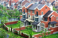 Semi-detached Villa. Building appearance of Semi-detached Villas in Shanghai Stock Photo