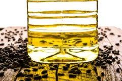 Semi di girasole ed olio di girasole Fotografie Stock Libere da Diritti