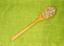Semi di girasole in un cucchiaio su una foglia verde Fotografia Stock