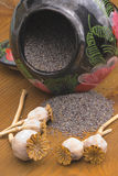 Semi e barattolo di papavero Fotografie Stock Libere da Diritti