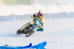 The semi-finals of the Russian championship in Ufa on a speedway  the ice in December 2016. Motocross competition on the ice in Russia Stock Photography