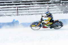 The semi-finals of the Russian championship in Ufa on a speedway  the ice in December 2016. Motocross competition on the ice in Russia Stock Photos