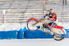 The semi-finals of the Russian championship in Ufa on a speedway  the ice in December 2016. Motocross competition on the ice in Russia Stock Photo