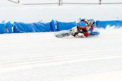 The semi-finals of the Russian championship in Ufa on a speedway  the ice in December 2016. Motocross competition on the ice in Russia Royalty Free Stock Images
