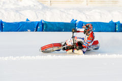 The semi-finals of the Russian championship in Ufa on a speedway  the ice in December 2016. Motocross competition on the ice in Russia Royalty Free Stock Image