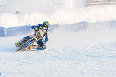 The semi-finals of the Russian championship in Ufa on a speedway  the ice in December 2016. Motocross competition on the ice in Russia Royalty Free Stock Photos
