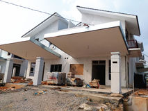 Semi Finished House Building at Construction Site Stock Image
