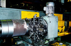 Semi-finishing groove of the sleeve. The image processing sleeve of the diesel engine Stock Photos