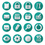 Semi flat web icons set in circles Royalty Free Stock Photography