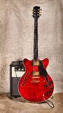 Semi-Hollow Guitar and Amplifier Stock Photo