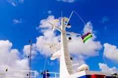 Semi-large ship`s radar tower and headlights. royalty free stock photo