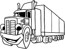 Semi Large truck cartoon Vector Clipart Stock Image