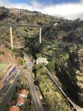 Semi luchtscène van kabelwagen, Funchal, Madera royalty-vrije stock afbeelding