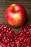 Semi maturi del melograno e della mela aperti pronto per usare Immagine Stock Libera da Diritti