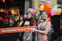 Semi naked party by desigual Barcelona Stock Images