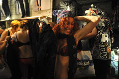Semi naked party by desigual Barcelona Stock Image