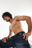 Semi nude portraits of handsome muscular man. Semi nude portraits of a handsome muscular man Royalty Free Stock Photo