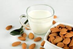 Semi nutrienti della mandorla in una ciotola ed in una tazza di latte su bianco immagine stock