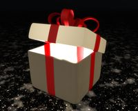 Semi-open gift box with red ribbon and bow Stock Images