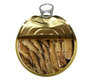 Semi open a tin of sprats Stock Images