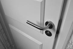 Semi Open White Wooden Door Royalty Free Stock Images