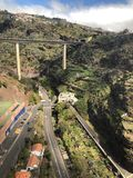 Semi powietrzna scena od wagonu kolei linowej, Funchal, madera obraz royalty free