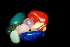 Semi precious. Gems isolated on black background Stock Image