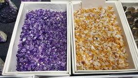 Semi precious amethyst and citrine stones. Natural background semi precious gemma stones Royalty Free Stock Photography