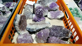 Semi precious amethyst  stones. Natural background semi precious gemma stones Royalty Free Stock Photo