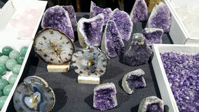 Semi precious amethyst  stones. Natural background semi precious gemma stones Royalty Free Stock Photos
