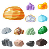 Semi precious gemstones stones and mineral stone isolated dice colorful shiny crystalline vector illustration Stock Photos