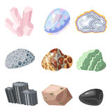 Semi precious gemstones stones and mineral stone isolated dice colorful shiny crystalline vector illustration Stock Images