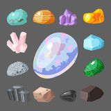 Semi precious gemstones stones and mineral stone isolated dice colorful shiny crystalline vector illustration Royalty Free Stock Photos