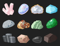 Semi precious gemstones stones and mineral stone isolated dice colorful shiny crystalline vector illustration Royalty Free Stock Photo