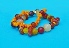 Semi precious stones bracelets - orange coral gemstone Stock Photos