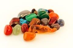 Semi precious stones / Crystal Stone Types / healing stones, worry stones, palm stones, ponder stones. Semi precious stones / Crystal Stone Types / healing royalty free stock photos