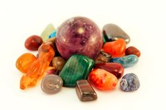Semi precious stones / Crystal Stone Types / healing stones, worry stones, palm stones, ponder stones. Semi precious stones / Crystal Stone Types / healing stock image