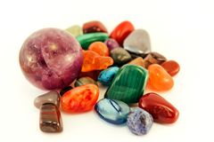 Semi precious stones / Crystal Stone Types / healing stones, worry stones, palm stones, ponder stones. Semi precious stones / Crystal Stone Types / healing Royalty Free Stock Images