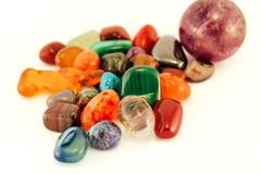 Semi precious stones / Crystal Stone Types / healing stones, worry stones, palm stones, ponder stones. Semi precious stones / Crystal Stone Types / healing royalty free stock photo